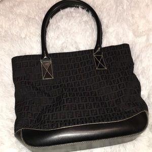 Fendi black zucca tote bag